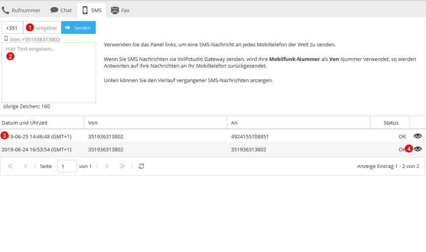 Benutzer SMS-Verwaltung