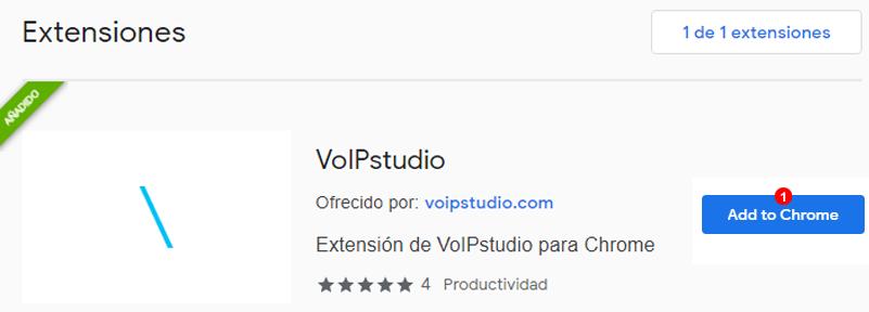 VoIPstudio Añadir Extensión a Chrome