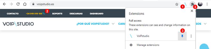 VoIPstudio Ejemplo Extensión google Chrome
