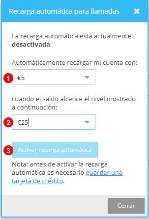 Configuración de recarga automática