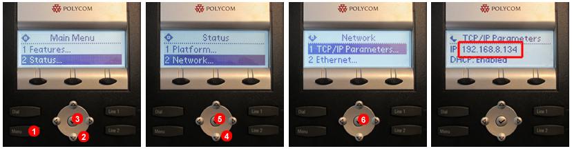 Polycom -  Descubrir la dirección IP del terminal