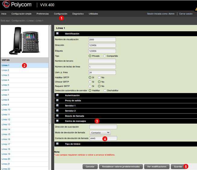 Polycom - Botón mensaje buzón de voz