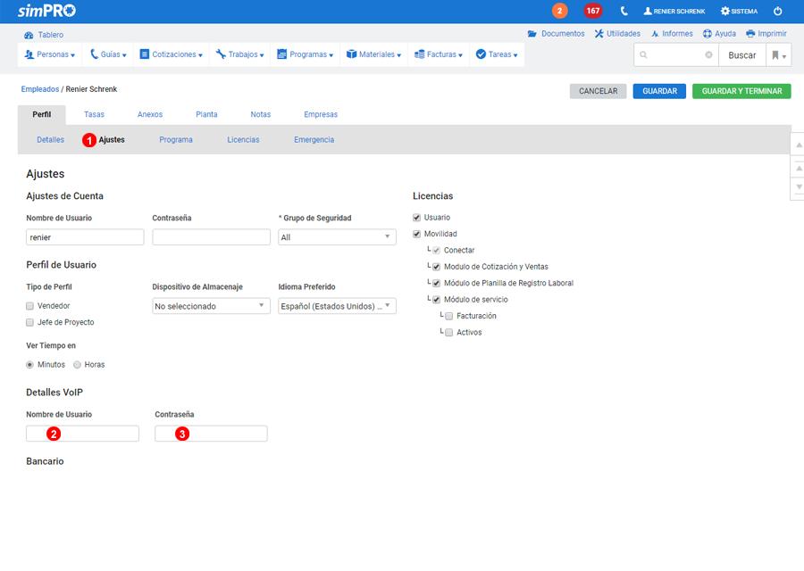 Configurar Ajustes de Usuario