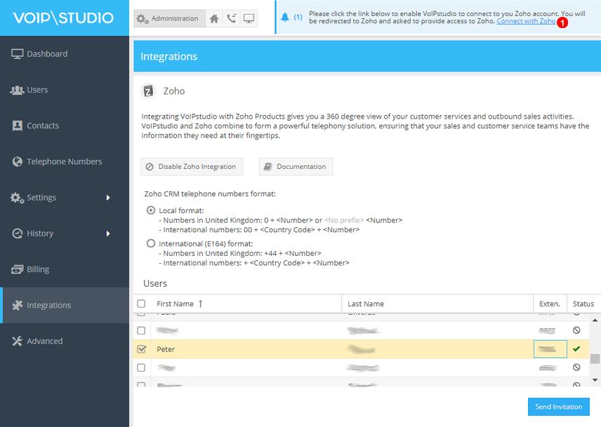 Enlace barra notificaciones para conexión con Zoho CRM