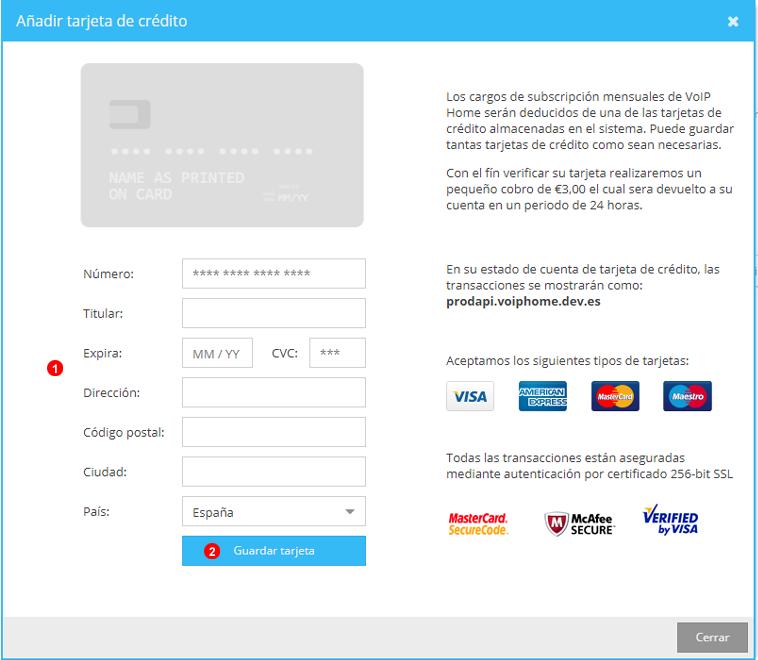Añadir tarjeta de crédito