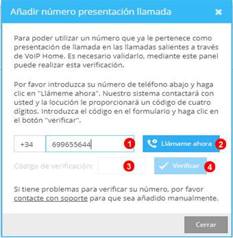 Ventana añadir número presentación de llamada