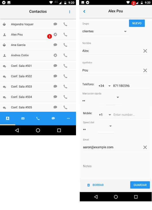 App editar contactos