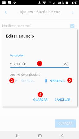 Ajustes de la app, Locuciones