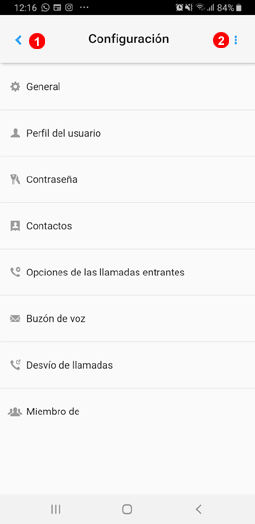 Ajustes de la app