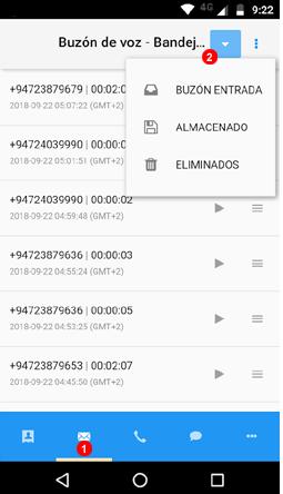 App buzones de voz - carpetas