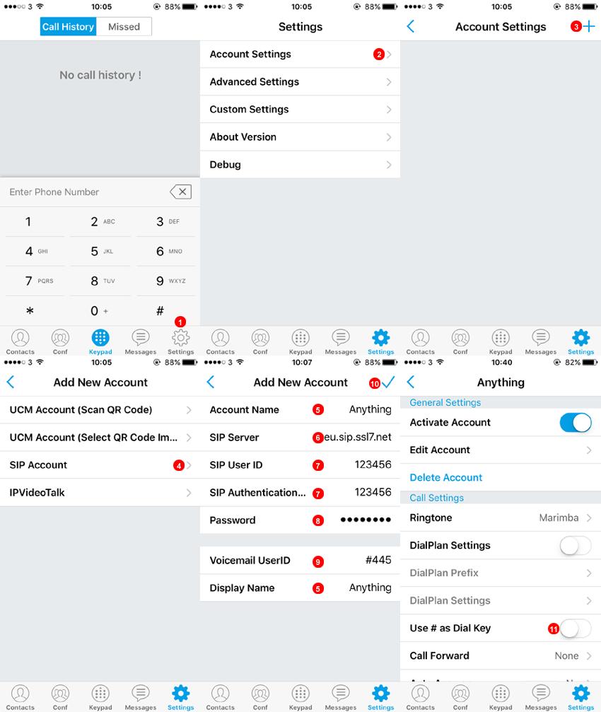 Grandstream iPhone - Configuración de la cuenta