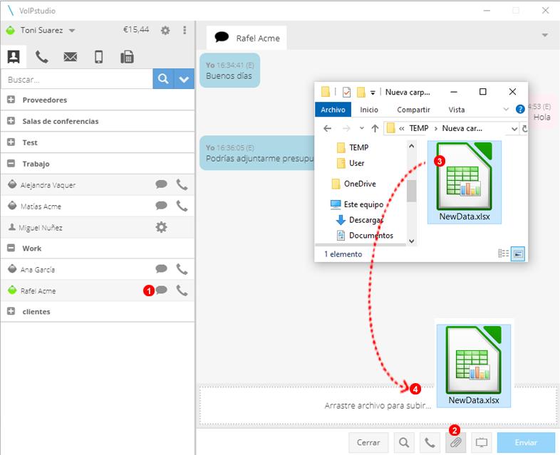Aplicación Softphone - Transferencia de archivos