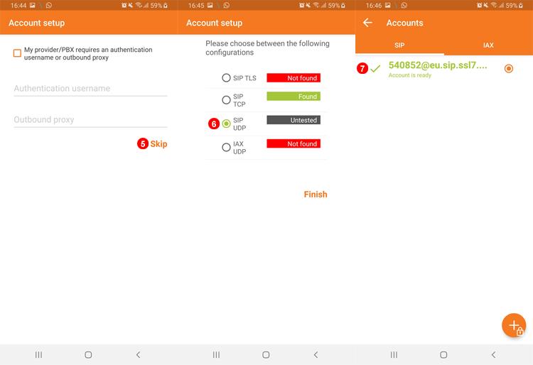 ZoIPer Android - Configuración de la cuenta manual